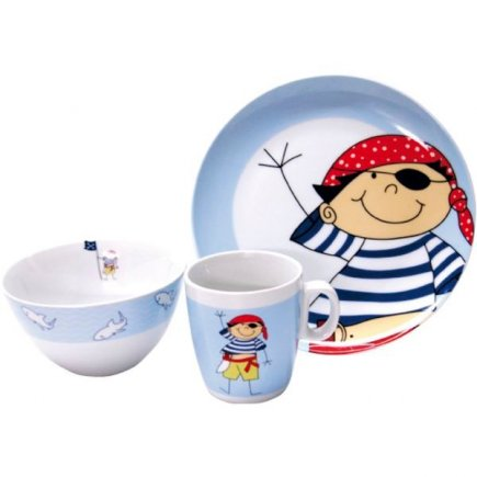 Sada dětského nádobí 3-dílná, piráti