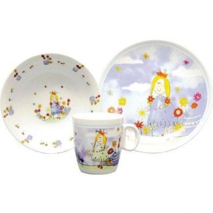 Sada dětského nádobí 3 - dílná, hrnek 200 ml, talíř 195 mm, miska 165 mm, Princezna, Gastro