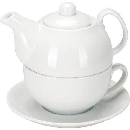 Sada na čaj Konvička 0,5 l šálek 0,3 l Podšálek 15 cm bílá Gastro