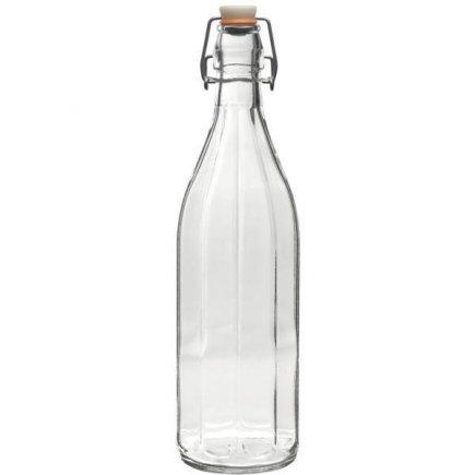 Láhev na alkohol 1,0l  s obloučkovým uzávěrem 10-hranná