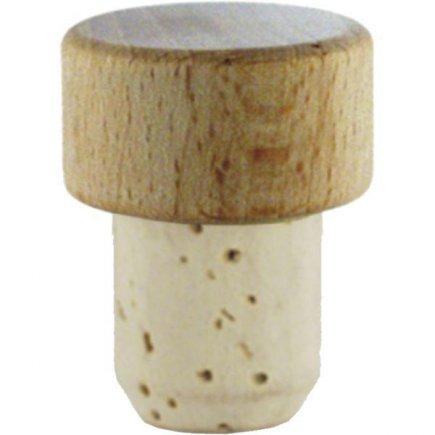 Špunt korkový, 12ks, dřevěná hlavička, průměr 19 mm pro láhev 222208014,15,25,26,27