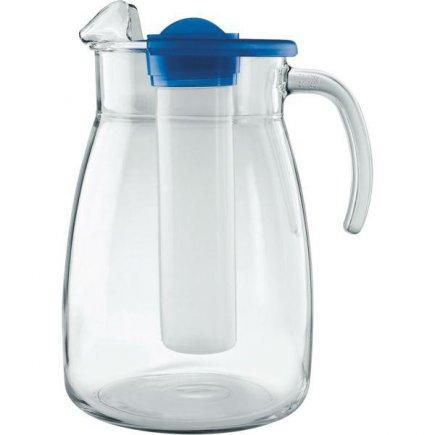 Džbán skleněný Gastro 2800 ml, s modrým víkem a zásobníkem na led