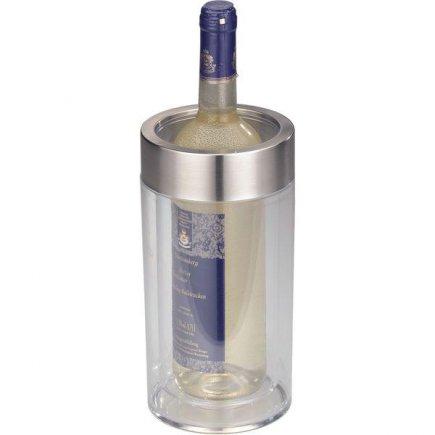Chladící nádoba na víno dvoustěnná akryl nerez transparentní