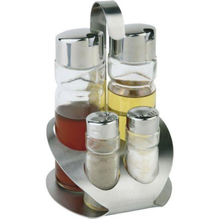 Menážka Menážky Kořenky Solnička Slánka 5ks: sklo sůl pepř párátka olej ocet nerez APS