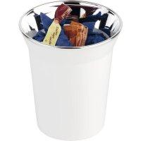 Stojánek na příbory, příborník, odpadkový koš na stůl, chromovaný okraj, bílý, APS