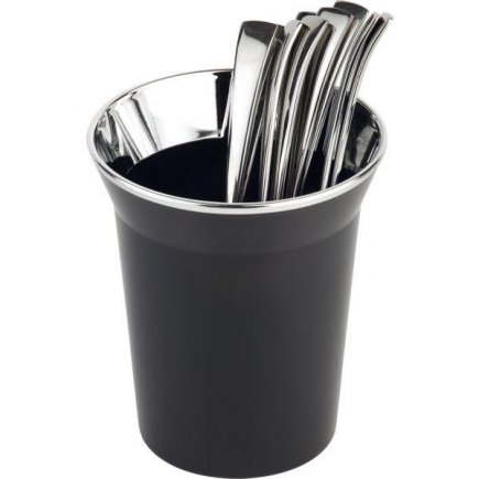 Stojánek na příbory, příborník, odpadkový koš na stůl, chromovaný okraj, černý, APS
