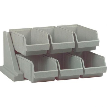 Stojan na příbory, 6 přihrádek, plast, šedý, nosnost 4,5 kg, může stát nebo lze připevnit na zeď, profi, Cambro