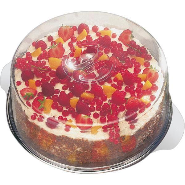 Servírovací Tác Podnos na dort dorty poklop nerez plast 30 cm v=11 cm party oslavy APS