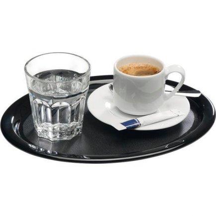 Servírovací tácek, podnos, ovál 26 x 20 cm, pro kavárny, cukrárny, melamin, černý, APS