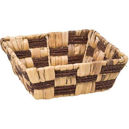 Košík hranatý vodní hyacint a tráva Gastro 22x22 cm