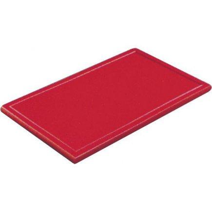 Prkénko krájecí plastové 60x40x3 cm, s drážkou, červené
