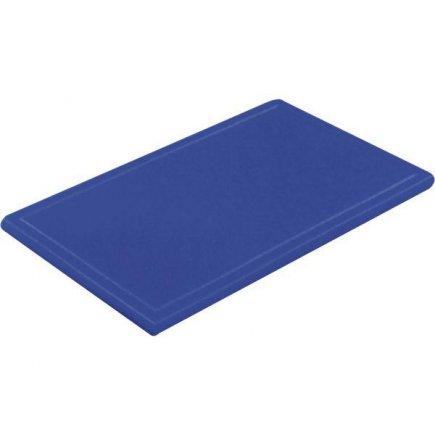 Prkénko krájecí plastové 25x16x1 cm, s drážkou, modré