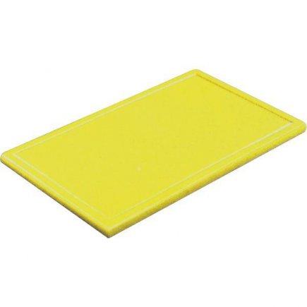 Prkénko krájecí plastové 25x16x1 cm, s drážkou, žluté