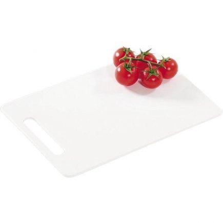Prkénko krájecí, 290/195/6, kvalitní PVC, vhodné i do myčky, bílá, Kesper
