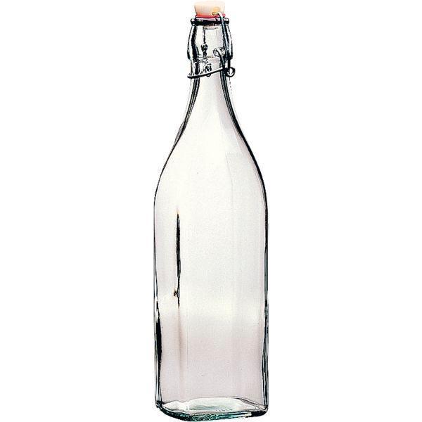 Láhev láhve 1 ,0 l na alkohol olej zálivky sirup hranatá 4 strany Swing saláty Bormioli Rocco