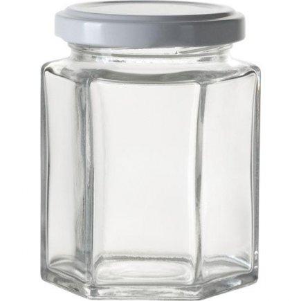Zavařovací sklenice pro marmelády, 6 ks, 191 ml, 6-hranná, bílé víčko Gastro