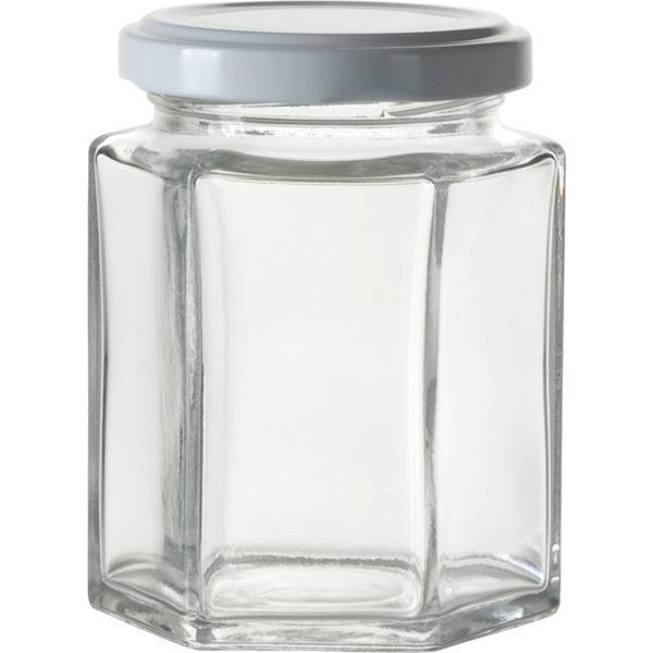 Zavařovací sklenice pro marmelády, 110 ml, 6-hranná, bílé víčko