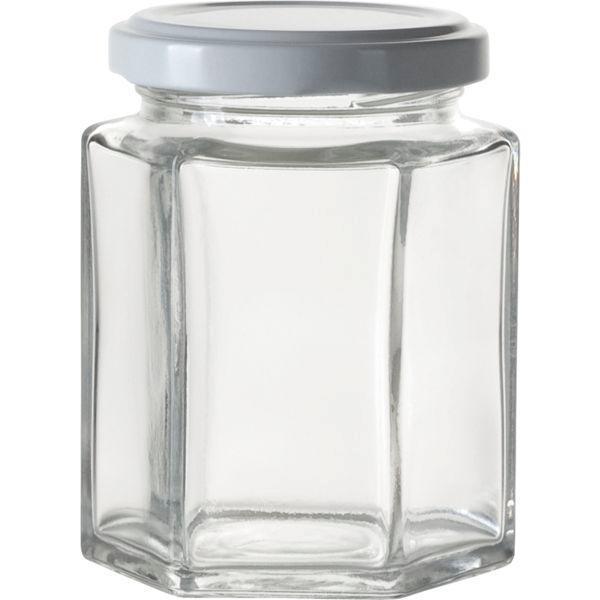 Zavařovací sklenice pro marmelády, 191 ml, 6-hranná, bílé víčko