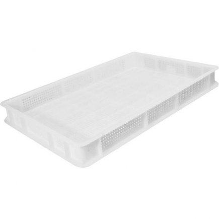 Přepravka plast 13 l 60x40x7 cm, bílá, perforovaná