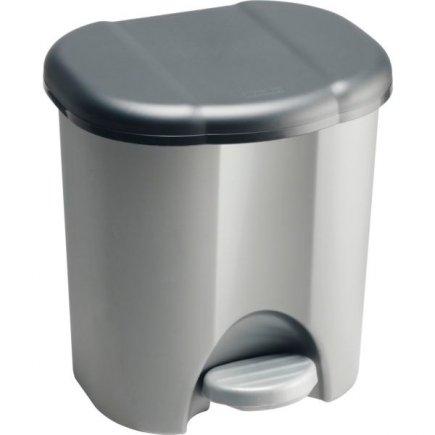 Odpadkový koš plastový Rotho 6 l, stříbrný