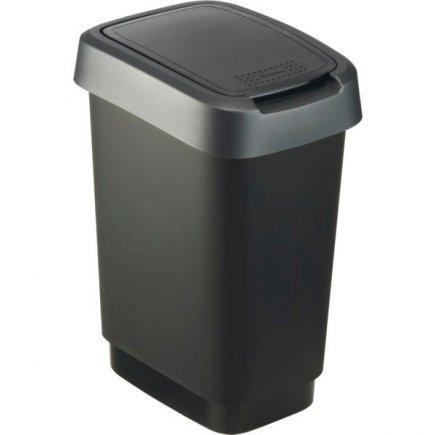 Odpadkový koš plast Rotho 10 l, černá / antracit