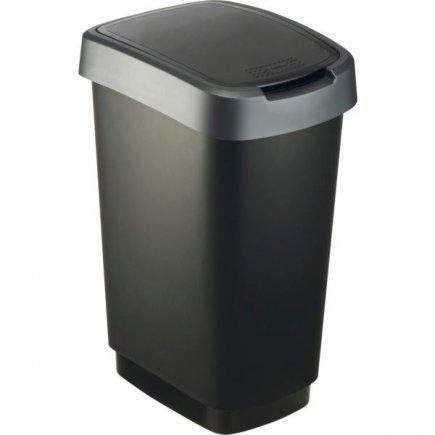 Odpadkový koš plast Rotho 25 l, černá / antracit