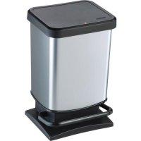 Odpadkový koš nášlapný Rotho 20 l , černá / stříbrná