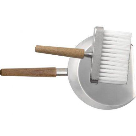 Lopatka se smetáčkem na stůl nerez mat dřevěná držadlo smetáček 14 cm Lopatka 25 cm úklid Piazza