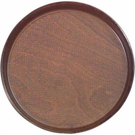 Podnos Tác APS 31 cm, kulatý, protiskluzový, lisované dřevo, laminát