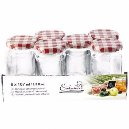Zavařovací sklenice Weck 107 ml 6 ks, kárové víčko
