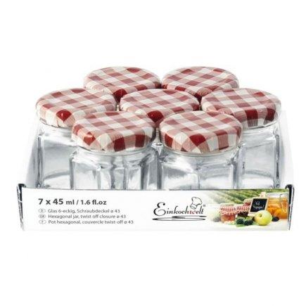 Zavařovací sklenice šestihranná Weck 45 ml 7 ks, víčko káry