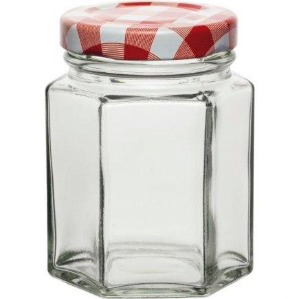 Zavařovací sklenice šestihranná Weck 110 ml, víčko káry