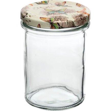 Zavařovací sklenice Gastro 230 ml, vysoká, víčko dekor motýlci