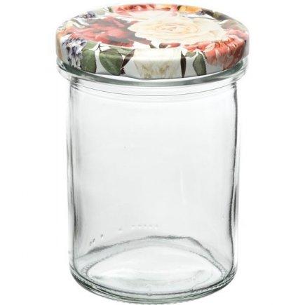 Zavařovací sklenice Gastro 230 ml 6 ks, vysoká, víčko dekor růže