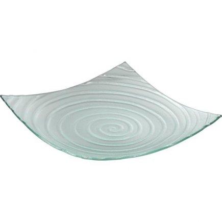 Talíř skleněný čtvercový Gastro 30x30 cm, rýhovaný