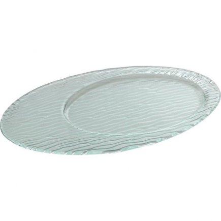 Talíř skleněný oválný Gastro 34x21 cm, rýhovaný