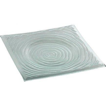 Talíř skleněný čtvercový Gastro 28x28 cm, rýhovaný
