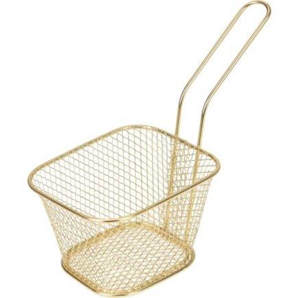Košík pro servírování jídla Gastro 10,5x8,5x7 cm, zlatý