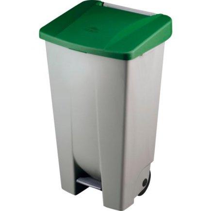 Odpadkový koš nášlapný Gastro 120 l, šedá/zelená