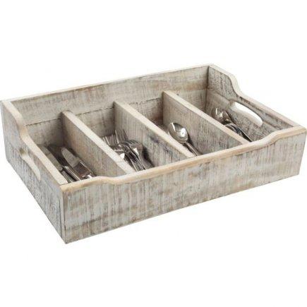Příborník dřevěný 48x13,4x13 cm, bílý