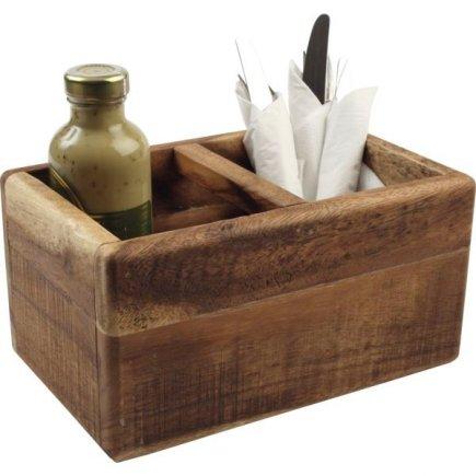 Příborník dřevěný 27,4x17,4x14 cm, natural, 2 přihrádky
