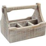 Stojan na příbory / dochucovadla dřevěný s madlem 29x18,5x22 cm, bílý