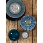Talíř hluboký Gusta Table Tales 21,5 cm, šedý, dekor vír