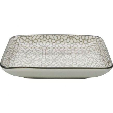Talíř hranatý Gusta Table Tales 12,5x12,5 cm, šedý, dekor mozaika