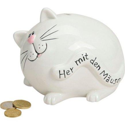 Pokladnička porcelánová Kočka, bílá