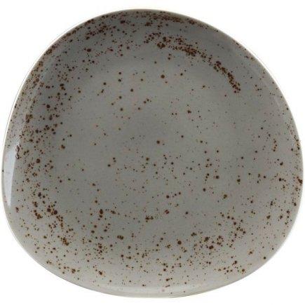 Talíř mělký asymetrický Schönwald Pottery 22 cm, světle šedá