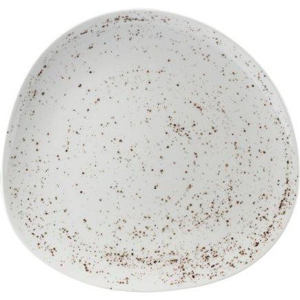 Talíř mělký asymetrický Schönwald Pottery 22 cm, bílý