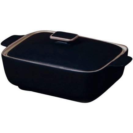 Pekáč keramický s poklicí Gusta Oven To Table 14x9x6 cm, černý