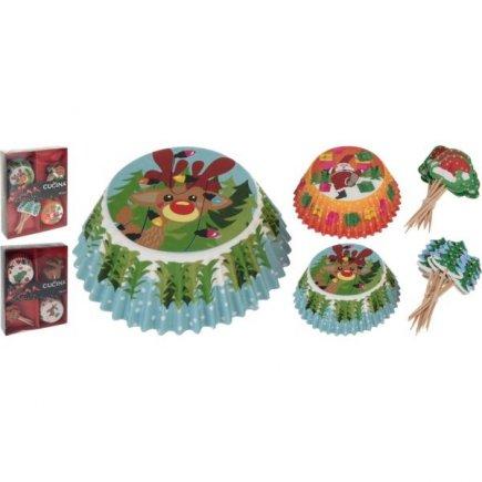 Papírové košíčky na pečení Gastro 48 ks, Vánoční motivy