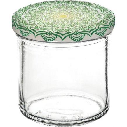 Zavařovací sklenice Gastro 167 ml 6 ks, víčko dekor Mandala zelené